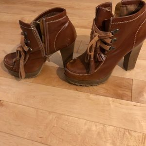 Mia bootie with lace an zipper. Used. Size 10